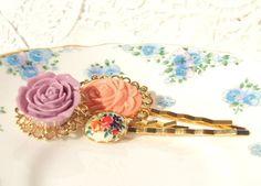 Garden Of Love  Flower Bobby Pin Set by NestingPretty on Etsy, $15.00