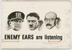 """""""Enemy Ears Are Listening"""" US WWII poster planning stage c. 1942-1945 [3,150 x 2,193]"""