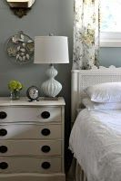 This is kind of what I want for my bedroom. Grey walls and antique white pine and white bedding.