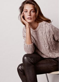 Daria Werbowy models cable knit sweaters and leather pants in Mango's Winter 2014 lookbook.