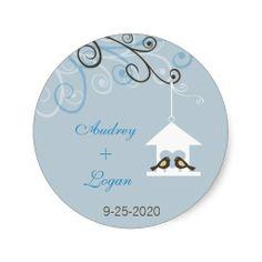 Bird House Wedding Round Stickers