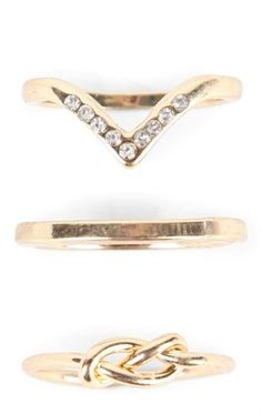 Deb Shops Set of 3 Rings with Stones and Twisted Details $4.00