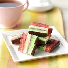 Italian Rainbow Cookies Recipe- Recipes M family has made these classic Italian cookies for generations, and this homemade version is so much better than the bakery version. They are always a special treat during the holidays or any time of year! Italian Rainbow Cookies, Italian Cookies, Italian Desserts, Italian Recipes, Italian Christmas Cookies, Christmas Baking, Christmas Recipes, Taste Of Home, Limoncello