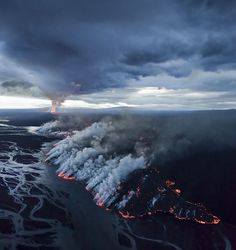 Volcano eruption in Iceland September 2014 - A new landmass is forming with new rivers and waterfalls. In the Holuhraun Lava Field.