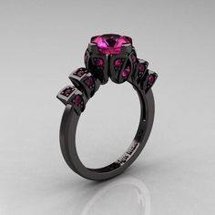 Edwardian 14K Black Gold 1.0 CT Pink Sapphire Ballerina Engagement Ring R241-14KBGPS - Perspective