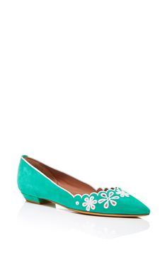 Green Kidsuede Daisy Chain Flats - Tabitha Simmons Spring Summer 2016 - Preorder now on Moda Operandi