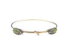 Scarab Collection, Scarab bangle, 18ct yellow gold, green sapphire, Sterling silver