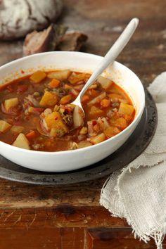 lentil soup with harissa FREEKEH