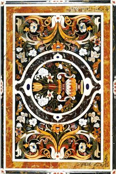 AN ITALIAN BAROQUE PIETRE DURE, MOTHER-OF-PEARL AND MARBLE-INLAID PANEL IN THE MANNER OF COSIMO FANZAGO, ON AN ITALIAN BAROQUE STYLE CARVED GILTWOOD STAND, the panel Naples, late 17th c., the stand 19th c.