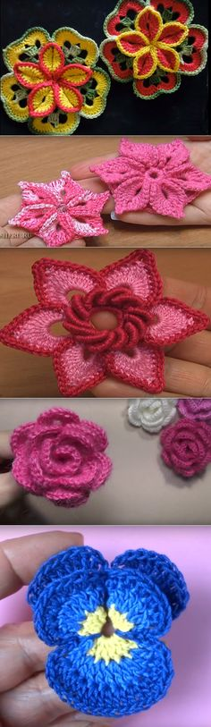 Beautiful 3D, croocheted flowers.  (Russian)
