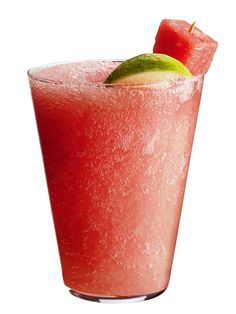 Frozen Watermelon Margaritas     Puree 1 1/2 cups cubed watermelon, 1 cup tequila, 1/2 cup each lime juice and orange liqueur, 1 to 2 tablespoons confectioners' sugar, 1/2 teaspoon salt and 3 cups ice in a blender. Divide among glasses; garnish with lime and watermelon.