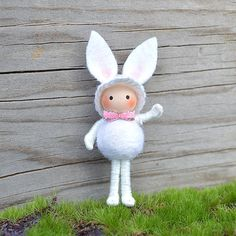 Easter Bunny Bendy Doll White by dreamalittle7 on Etsy