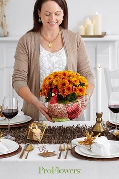 """Dinner guests will """"gobble up"""" this arrangement in its adorable turkey container! Order Flowers, Send Flowers, Online Flower Delivery, Autumn Home, Floral Arrangements, Turkey, Thanksgiving, Table Decorations, Dinner"""