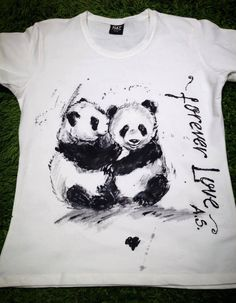 Panda hand painted Tshirt. Panda bear love by palettePandora