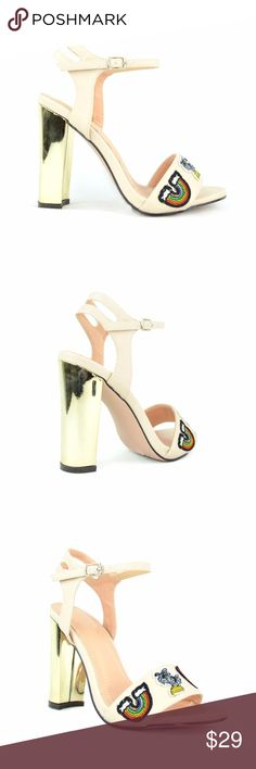 Chase & Chloe Frank Nude Patches Heeled Sandal A trend-savvy wrapped golden block heel elevates a strappy sandal that's a versatile choice for any occasion.  Chase & Chloe Frank-1 Open Toe Sling Back Rainbow Patches Adjustable Ankle Buckle Strap Closure Chunky Block Heel Women's Heeled Sandal Approx. 3.75″ Heel, 0.25″ platform Imported Synthetic Chase & Chloe Shoes Heels