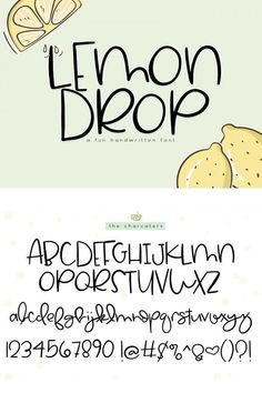 Lemon Drop is a cute handwritten font. This font is perfect for quotes, headings… Lemon Drop ist eine niedliche handgeschriebene. Lettering Brush, Hand Lettering Alphabet, Doodle Lettering, Creative Lettering, Lettering Styles, Handwriting Fonts Alphabet, Cute Fonts Alphabet, Doodle Fonts, Typography