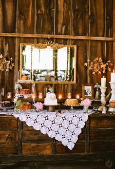 Miss Lovie: Fall Wedding Ideas-Rustic Dessert Table Inspiration