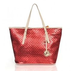 Michael Kors Logo Knitted Large Red Totes