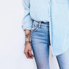 8 Gorgeous Ways to Wear Pantone's 2016 Color of the Year: A light chambray shirt.