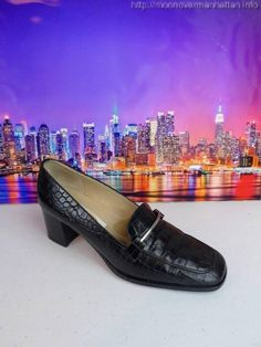 Womens shoes TALBOTS black leather ITALY croc Classic Dress Loafer Pumps sz 7 N #Talbots #LoafersMoccasins