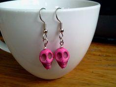 Pink+Sugar+Skull+Earrings+Howlite+by+RukaDoll+on+Etsy,+$8.95