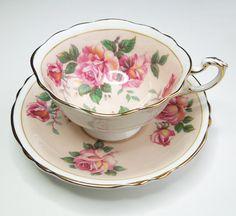 Paragon tea cup and saucer set - English bone china tea set - large pink roses and peach teacup and saucer