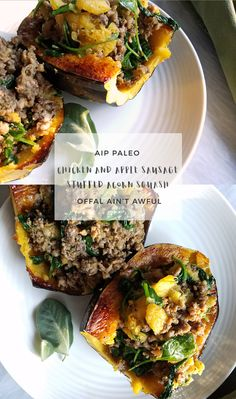 AIP Chicken and Apple Sausage Stuffed Acorn Squash Paleo Recipes, Real Food Recipes, Chicken Recipes, Free Recipes, Paleo Meals, Healthy Dinners, Sausage Stuffed Acorn Squash, Acorn Squash Recipes, Aip Diet