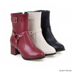 Womens Block Heels Elegant Ankle Boots High Top Buckle Winter Warm Booties Shoes
