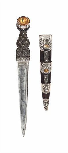 "armthearmour: ""A lovely regimental Dirk for an officer of the Highland Borderers, attributed to J. Mortimer Co., Scotland, ca. Swords And Daggers, Knives And Swords, Rifles, Dagger Knife, Medieval Fantasy, Celtic, Weapons, History, Antiques"