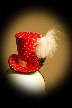 Burlesque, Gothic, Steampunk, Victorian, Showgirl, Mad Hatter, Mini Top Hat Red Polka Dots