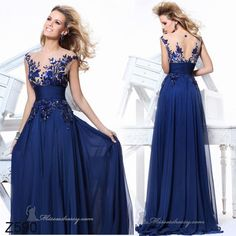 Sexy New Royal Blue Embroidery Long Formal Evening Prom Dress US Size 4 6 8 10+  Found on eBAy cheaper. Will do custom size.