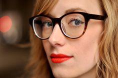 glasses: c/o warby parker / lipstick: revlon orange flip Coral Lips, Orange Lipstick, Eat Sleep Wear, Cool Glasses, Rose Colored Glasses, Warby Parker, Four Eyes, Girls With Glasses, Hair