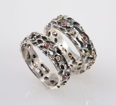 Medieval Wedding Band Set - Made from Silver with Rubies & Diamonds. $850.00, via Etsy.