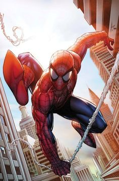 I love the light bouncing off of spidey's head and also the point of view, its almost as if he is a few foot above the camera swinging in. Brilliant