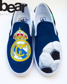 Custom Vans Hand Painted Shoes  Real Madrid Soccer by BearGallery, $150.00