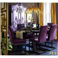Purple dining room. cover chairs in purple velvet