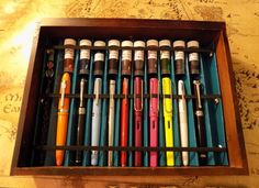 Pen Rack Project - How To. I should make something like this to house the favourites of the pens I've collected over the years.