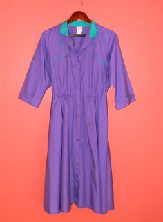 Vintage Dress 80s Large Purple Shirt Dress by PinkCheetahVintage, $24.00