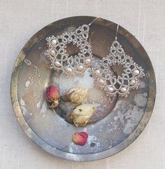 Tatting Lace Jewelry Silver earrings Lace by ElenaRakovska
