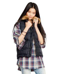Faux-Fur-Trim Down Vest - Denim & Supply  Outerwear - RalphLauren.com