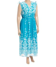 Another great find on #zulily! Aqua Paisley Shoulder-Tie Smocked Maxi Dress - Plus #zulilyfinds