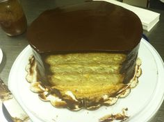 Candy bar cake  Yellow cake with a caramel filling and a chocolate glaze