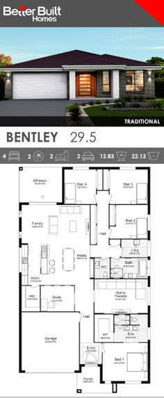 Single Storey House Design, the Bentley 29 with Traditional facade option. This generous layout includes everything a home needs. 4 bedrooms plus a study, all with wardrobes, Home Theatre, gourmet kitchen with window splashback and large Walk In Pantry. #SingleStorey #groundfloor #housedesigns #BetterBuilt #floorplans
