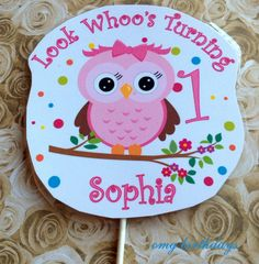 Pink Owl Look Whoo's Two 7 8 1 2 3 4 5 6 Cake Topper Top Centerpiece Pick Birthday Party Decor Decoration Diaper Smash 1st first baby girl on Etsy, $5.99
