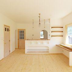 marokichiさんの、無垢材,レンガ,北欧,漆喰,かわいい♡,木の雰囲気,お洒落,新築,照明,部屋全体,のお部屋写真