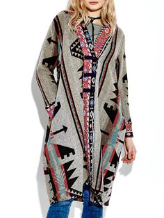 Sale 19% (44.99$) - Ethnic Button Printing Long Sleeve Loose Long Vintage Coat