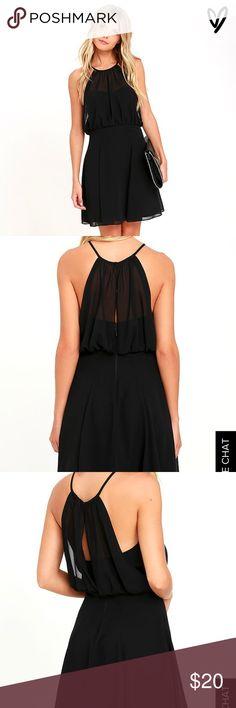 Mesmerizing Moment Black Skater Dress Lulus black never worn dress. Chiffon halter neckline overlays a sweetheart bodice. Brand new! Lulu's Dresses Mini