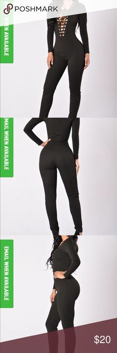 Lace up black jumpsuit-- Fashion Nova Long Sleeve Jumpsuit Lace Up Front Gold Grommet Detail Low V Neckline Skinny Leg Made in USA 96% Polyester 4% Spandex Fashion Nova Pants Jumpsuits & Rompers
