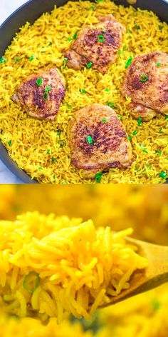 This Chicken and Yellow Rice Skillet truly is a restaurant-quality dinner that's so quick to make and in just one skillet. The rice is fluffy and flavorful, and the chicken is wonderfully tender. Cheesy Recipes, Chicken Recipes, Pasta Recipes, Chicken And Yellow Rice, Yellow Rice Recipes, Comida Diy, Breakfast Recipes, Dinner Recipes, Dinner Ideas