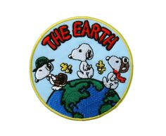 Snoopy The Earth Embroidered Applique Iron on Patch